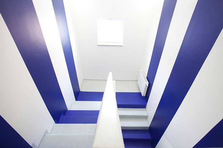 Boutique Hostel Forum blue and white stairs