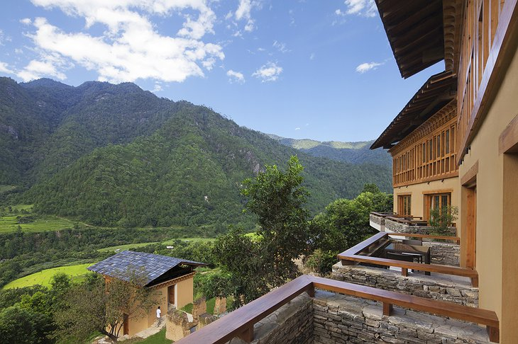 COMO Uma Punakha balcony with mountain views