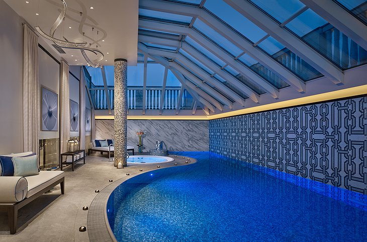 The Ritz-Carlton Hotel Budapest indoor pool and Jacuzzi in the evening