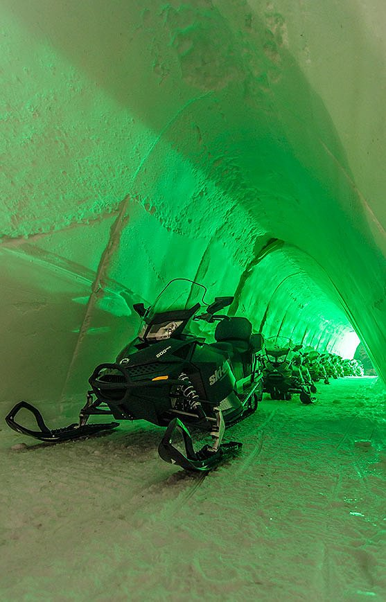 Snowmobile ice tunnel storage