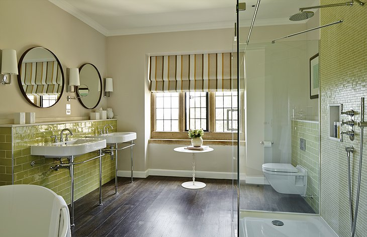 Foxhill Manor bathroom with shower and bathtub