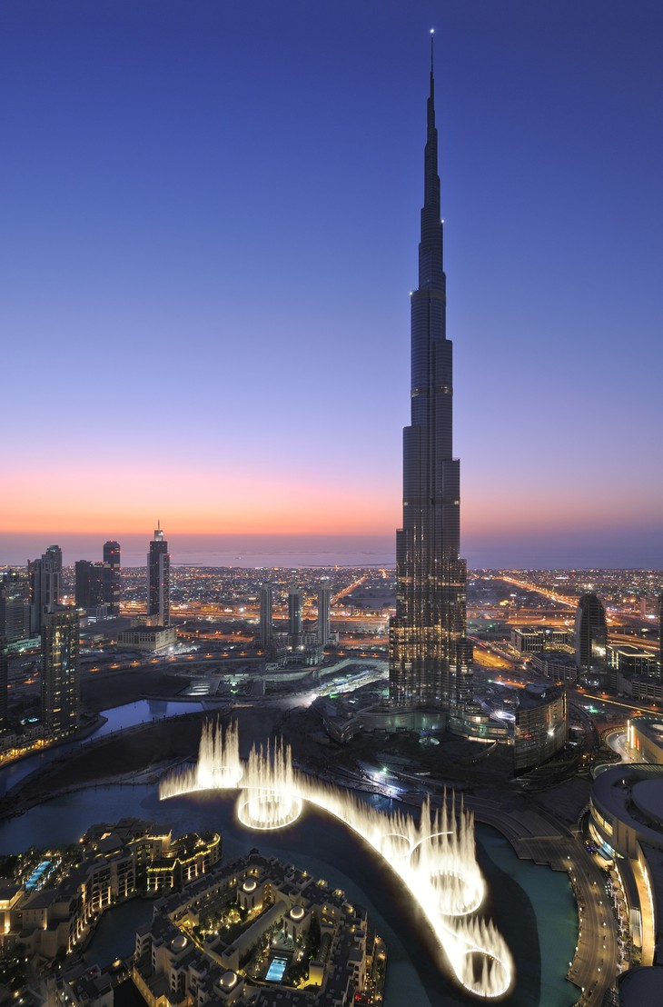 Burj Khalifa, the world's tallest tower at 828 meters