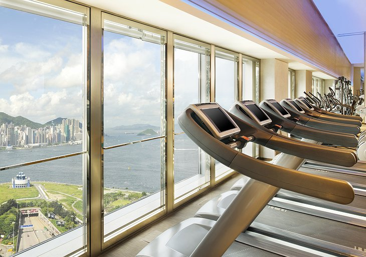 Gym with Hong Kong panorama