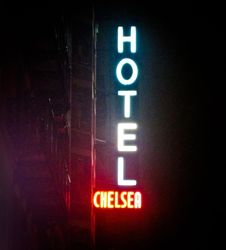 Hotel Chelsea illuminated sign at night