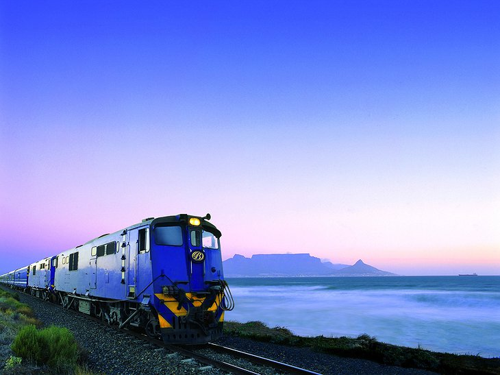 The Blue Train at sunset at the ocean