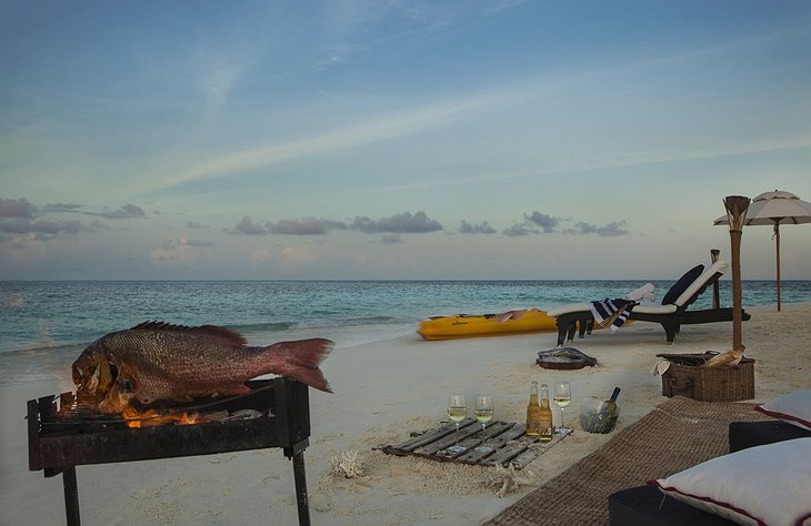 Fish grilling on the beach