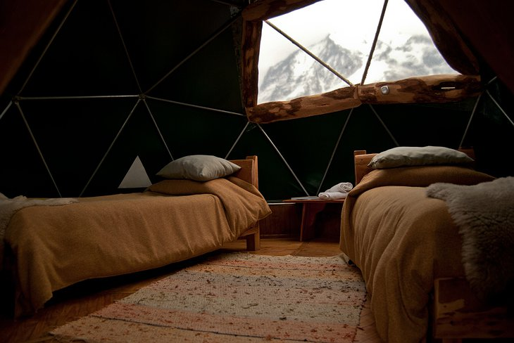 EcoCamp Standard Dome two single beds