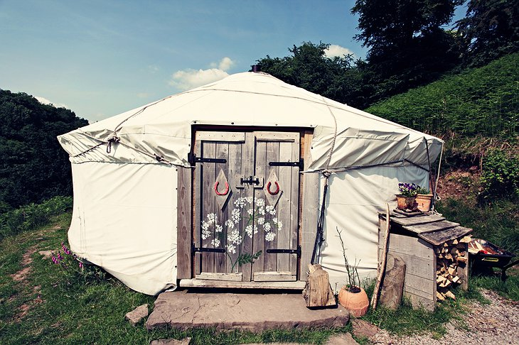 Black Mountains Yurt wooden door