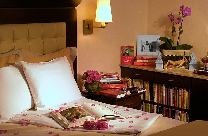 Library Hotel bed and books