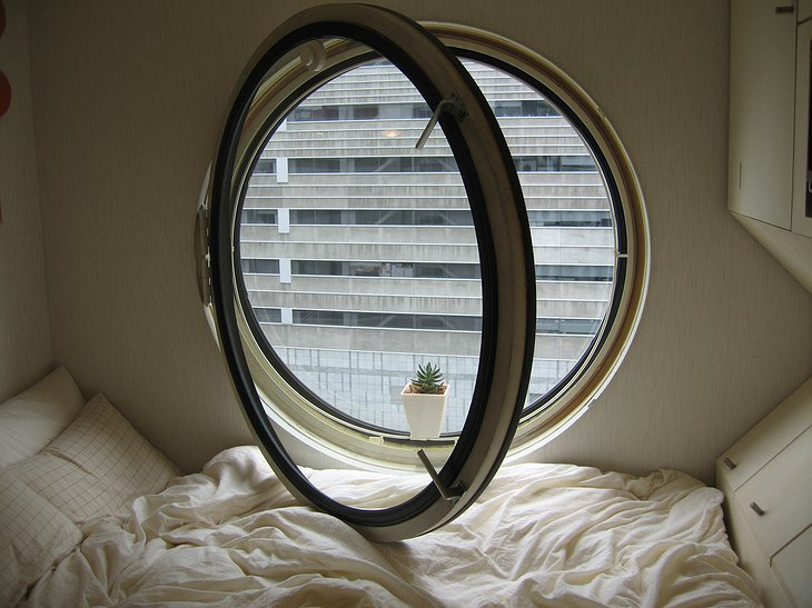 Rounded window at Nakagin Capsule Tower