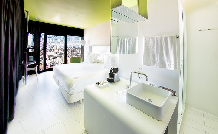 Barceló Raval bedroom with bathroom together