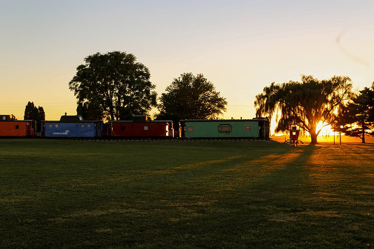 Red Caboose Motel Trains at Sunset