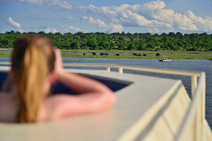 Zambezi Queen jacuzzi with wildlife viewing