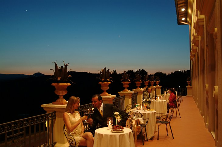 Dining on the terrace of Fonteverde hotel