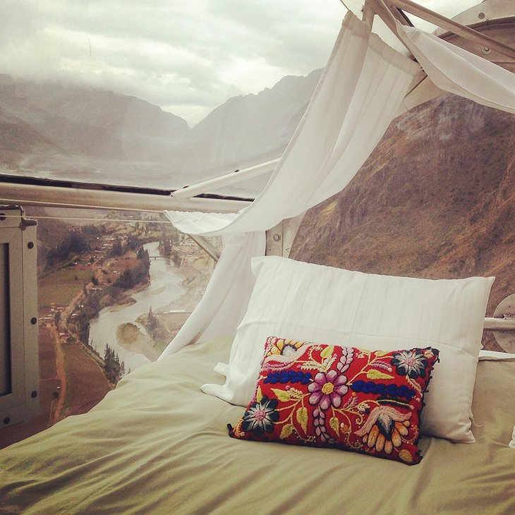 Skylodge Adventure Suites bed with majestic views