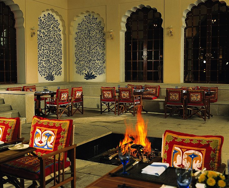 The Oberoi Vanyavilas terrace with fireplace