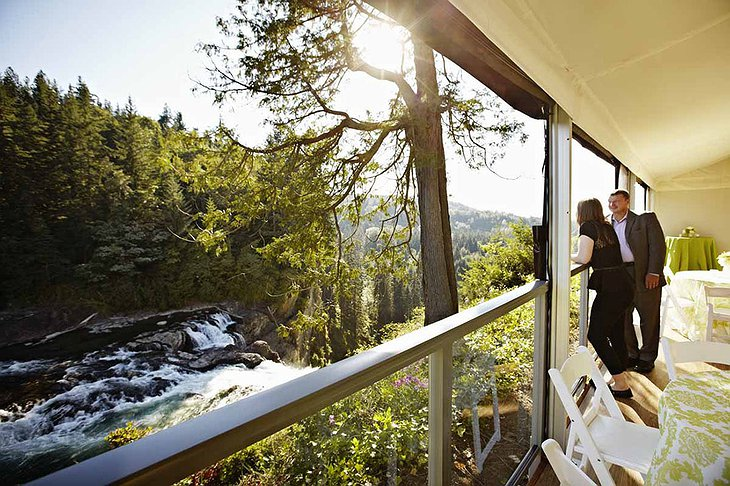 Salish Lodge Balcony Waterfall View