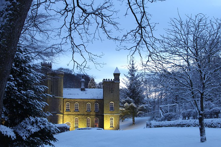 Carr Hall Castle in winter