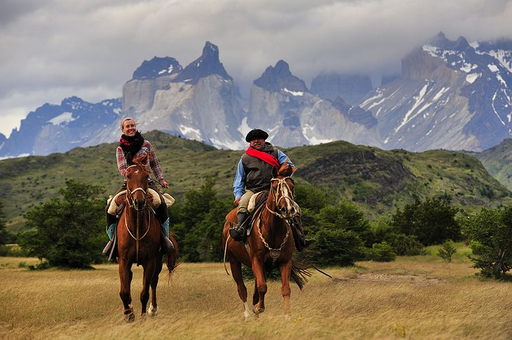 Riding on the horses in Patagonia