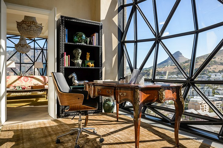 The Silo Hotel penthouse suite study room with Cape Town panorama