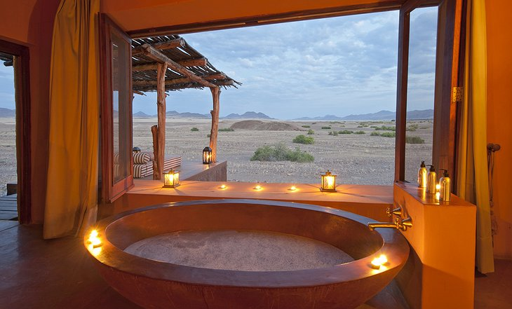 Okahirongo Elephant Lodge bathtub with desert view
