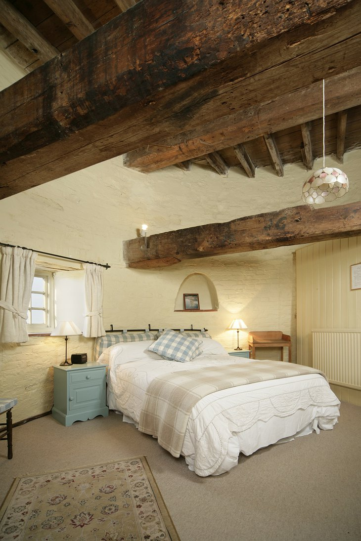 Cley Windmill room with wooden ceiling