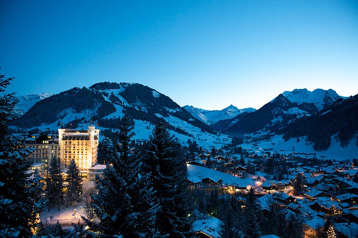 Gstaad Palace during winter covered with snow