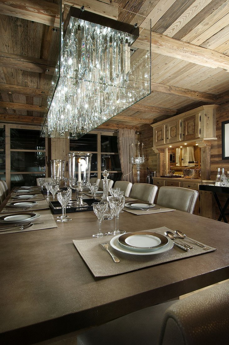 Grande Roche Chalet dinner room chandelier