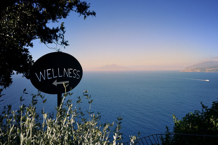 Wellness sign and sea view