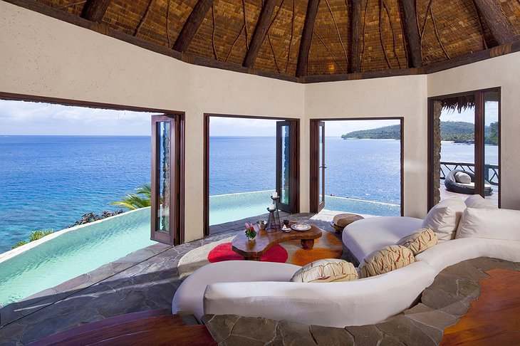 Laucala Island Resort Peninsula Villa lounge with ocean views