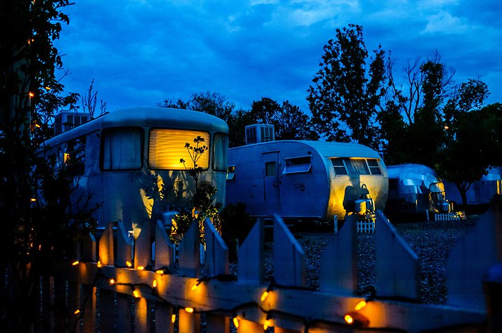 The Shady Dell trailers at night