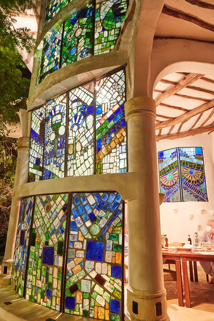 Watamu Treehouse colorful mosaic windows