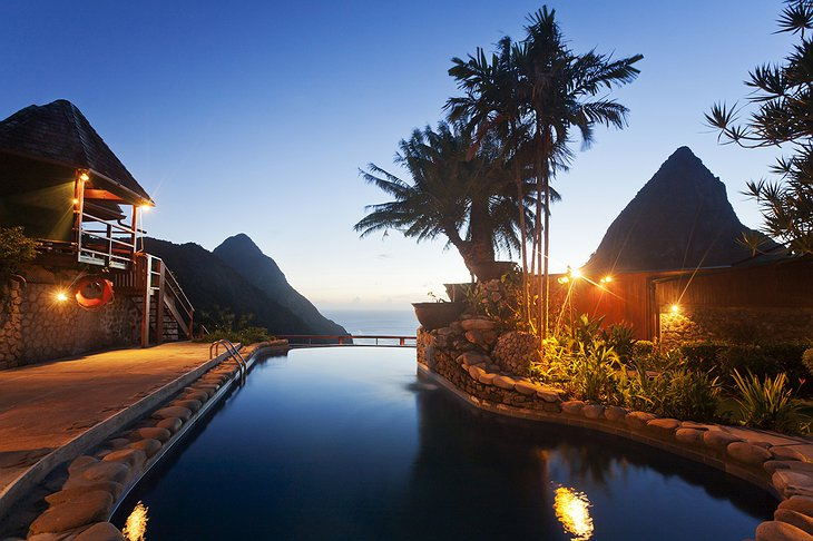 Ladera Resort pool at night