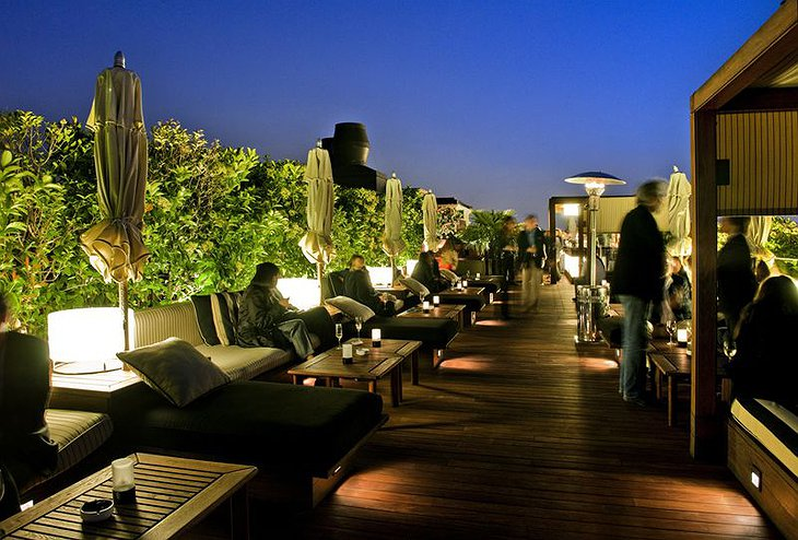 Hotel 1898 rooftop terrace at night