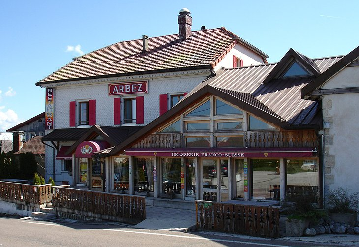 Hotel Arbez building on the border of France and Switzerland