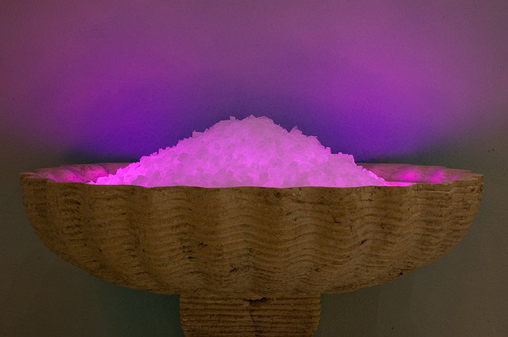 Purple lit ice holder in the spa