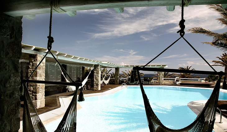 San Giorgio Mykonos hammocks above the swimming pool