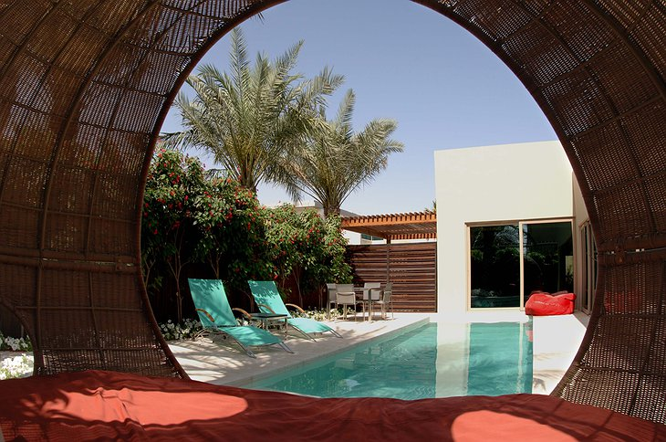 Desert Palm Resort Dubai pool villa hammock view