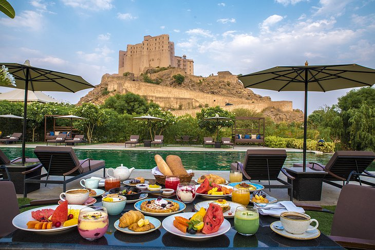 Breakfast at the Pool at Alila Fort Bishangarh Hotel