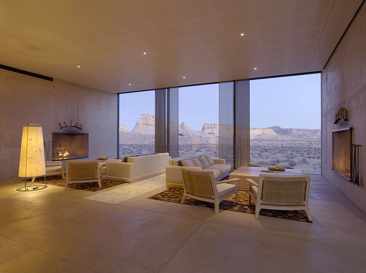 Amangiri Villas common room with fireplaces