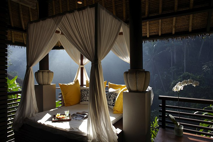 Maya Ubud Resort spa resting place with majestic view on the river