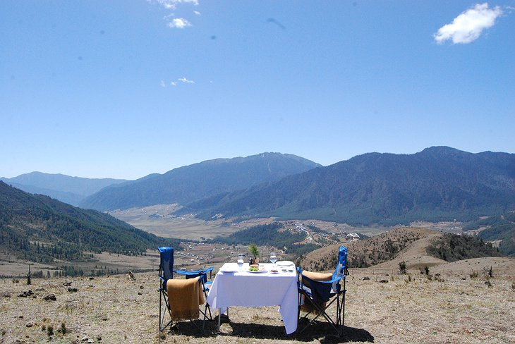 Outdoor Dining In The Gangtey Valley in Bhutan