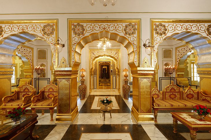 The Raj Palace golden interior