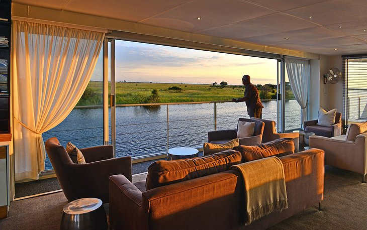 Zambezi Queen lounge with nature view