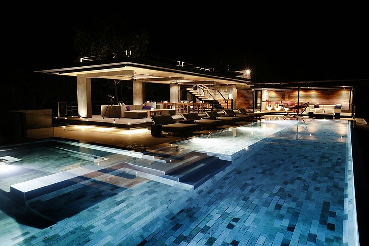 Infinity pool in the night