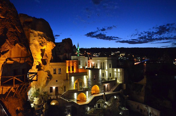Cappadocia Cave Suites at night with view on Göreme