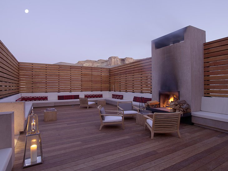 Amangiri Villas terrace with fireplace