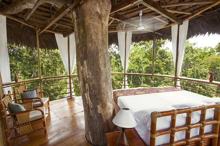Treehouse Lodge Iquitos bungalow bedroom with jungle views