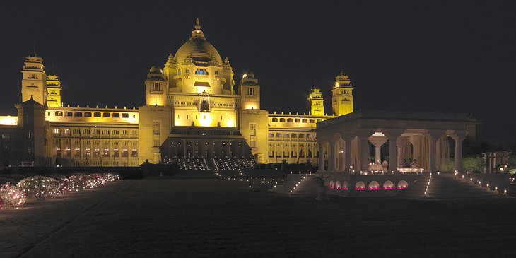 Umaid Bhawan Palace exterior at night