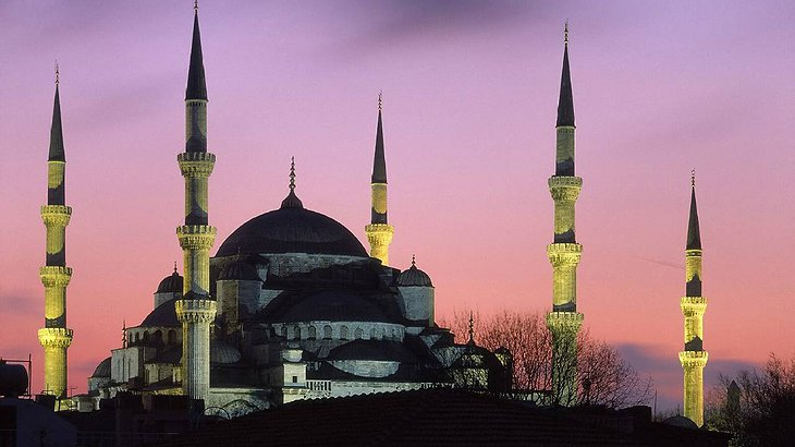 The gorgeous Sultan Ahmed Mosque, also known as the Blue Mosque